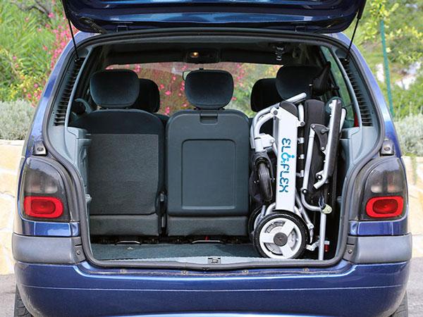 Eloflex hopfällbar elrullstol, elektrisk rullstol, vikbar, portabel, lätt, låg vikt, egen bil, flyg, resa, kompakt, smidig, bagageutrymme
